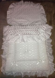 Pram quilt set, white with white U-shaped trim, £21. | baby ... : dolls pram quilt sets - Adamdwight.com