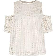 Cream cold shoulder lace top £26.00