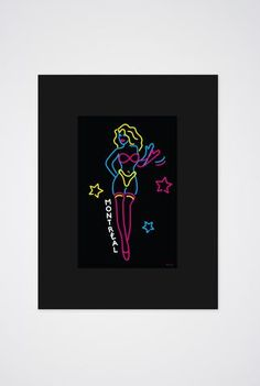 Montreal Neon Dancer Art Print - Main and Local