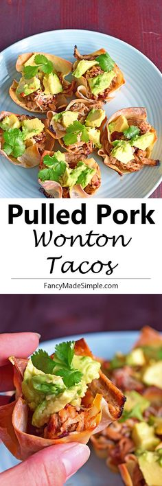 Pulled pork wonton tacos. Easy and healthy appetizer or lunch recipe.
