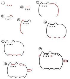 ^ There's more than one way to draw Pusheen, and here is one version that is step by step fun. Cute Easy Animal Drawings, Cute Cartoon Drawings, Cute Kawaii Drawings, Doodle Drawings, Easy Animals To Draw, Draw Animals, Pencil Drawings, Easy Drawing Tutorial, Easy Cat Drawing