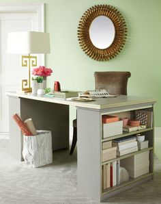 We'll probably need a desk.  Why not take two bookshelves, add a door and put them together to create a desk?