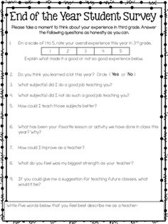 End Of The Year Parent Survey Freebie  My Class