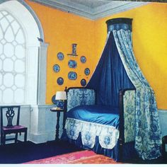 "98 Likes, 4 Comments - Michael Devine Ltd. (@michaelddevine) on Instagram: ""Yellow bedroom from the Desmond  Guinness house. #bedroom #blueandwhite #yellow #classic #style…"""