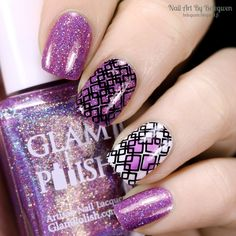 Nail Art by Belegwen: Glam Polish Mix Tape, Essence Wild White Ways and Essie No Shrinking Violet