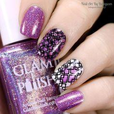 Nail Art by Belegwen: Glam Polish Mix Tape, Essence Wild White Ways and Essie No Shrinking Violet