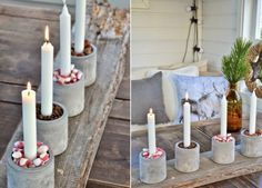 Concrete Advent wreath idea-modern-cup-sweets-coffee-bean-candles - Home Page Christmas Advent Wreath, Christmas Fun, Christmas Decorations, Advent Wreaths, Coffee Bean Candle, Concrete Crafts, Concrete Cement, Handmade Candles, Wreath Crafts