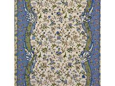 Menars in Canton Blue from Brunschwig & Fils   @Kravet #fabric #cotton #border #floral #green #blue