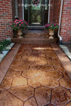 This kind of photo is unquestionably an outstanding design conception. Concrete Patios, Concrete Front Steps, Concrete Patio Designs, Concrete Porch, Stamped Concrete Colors, Stamped Concrete Driveway, Wood Walkway, Walkway Ideas, Front House Landscaping