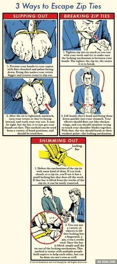 3 ways to escape zip ties - survival life hacks