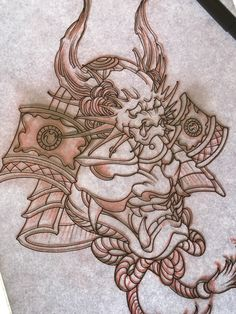 Amsterdam TATTOO1825 KIMIHITO Samurai mask tattoo design Japanese style tattoo