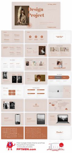 Design Project Free PowerPoint Template and Google Slides Theme – presentation by PPTMON