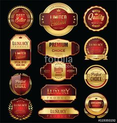 ベクター: Premium and luxury golden retro badges and labels collection 点