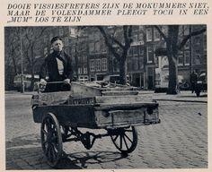 1940. Volendam fish vendor at the Haarlemmerplein in Amsterdam. Photo Jaap Doeser. #amsterdam #1940