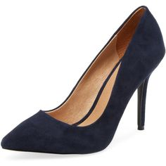 Maiden Lane Maiden Lane Women's Classic Leather Pointed-Toe Pump -... (125 CAD) ❤ liked on Polyvore featuring shoes, pumps, platform shoes, dark navy blue pumps, pointed-toe pumps, leather shoes and pointy-toe pumps
