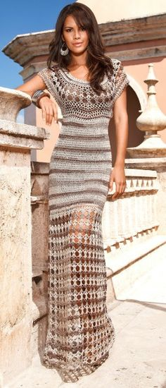 Crochet maxi dress #crochet #knit #patterns #charts #diagrams