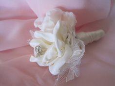 diy Vintage Fabric Flowers | Ivory Vintage Inspired Fabric Flower Boutonniere Groom, Groomsmen ...