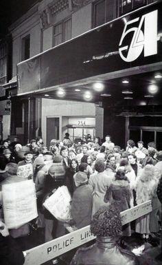 Crowds outside Studio 54, 1970s.