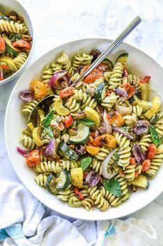Creamy Avocado Pesto Pasta Salad with Roasted Vegetables