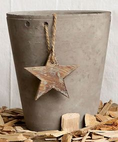 Love this Gray Cement Pot with Wood Star on #zulily! #zulilyfinds