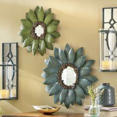 I love these flower mirrors...Repurpose a 2 liter bottle or flashing and cut out petals