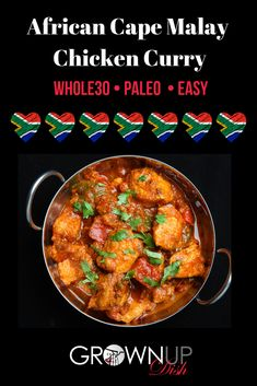 This one pot Cape Malay Chicken Curry will tickle your tastebuds with a unique mix of spices. It's traditionally eaten without utensils (try using your hands - it's fun! Dairy Free Recipes, Paleo Recipes, Easy Recipes, Gluten Free, Chicken And Potato Curry, African Stew, Curry Dishes, Curry Recipes, One Pot Meals