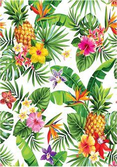 Tropical piña fondos de escritorio comestible decoración de flores hoja torta Toppers decoraciones de glaseado Usted recibirá 1 x A4 guinda hoja imprimida con el diseño como se muestra en la imagen Totalmente comestible e impresas con tintas comestibles Muy versátil para tu pastel de