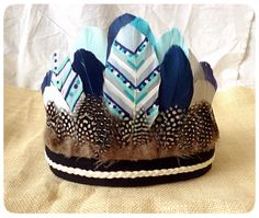 Boho Baby Boy Feather Crown , 1st Birthday , Wild One , Feather Headdress , Baby Crown , Tribal Birthday , Cake Smash by ShabbyRabbitDesigns on Etsy