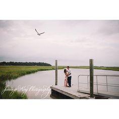 Last nights engagement session of Meghan & David - my California couple! Wedding on NYE 2015! @svetich @wedcharleston : photography: #jenningskingphotography    #charleston #dock #engagement #charlestonweddingphotographer #californiacouple #jamesisland #seagull