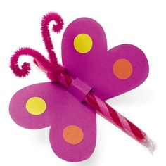 Valentine activities: Butterfly valentine treat card. Could also use a pack of smarties or a pencil.