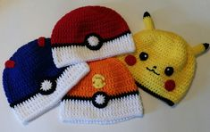 Crochet Pokemon Patterns Free Crochet Pokemon Ball And Pikachu Hats All Sizes Pokemon Pikachu Pokemon Crochet Pattern, Pikachu Crochet, Crochet Shoes Pattern, Easy Crochet Patterns, Baby Patterns, Crochet Ideas, Pikachu Hat, Pokemon Hat, Crochet Kids Hats
