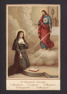 Vintage holy card depicting St. Margaret Mary Alacoque