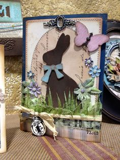 Darling Easter Bunny Card...with embellishments...richele-bunny-card.