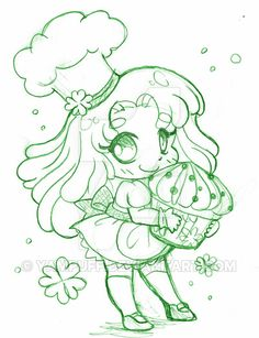 Celtic Bakery Micro Chibi ::Commission Sketch:: by YamPuff.deviantart.com on @DeviantArt