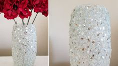 Bling-Bling and More Bling Crushed Glass Vase Centerpiece Decor Diy Home Decor Living Room, Diy Home Decor For Apartments, Diy Room Decor, Mosaic Vase, Mosaic Diy, Glass Centerpieces, Vases Decor, Decorating Vases, Painted Glass Vases