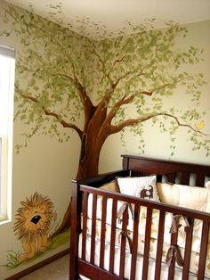 Jungle Baby Nursery Mural, painted by Chicago muralist, Debbie Cerone. Nursery mural includes a cute lion and elephant, baby's name and large, whimsical tree. Baby Bedroom, Baby Boy Rooms, Baby Room Decor, Baby Boy Nurseries, Kids Rooms, Baby Room Themes, Room Baby, Church Nursery, Nursery Room