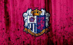 Download wallpapers FC Cerezo Osaka, 4k, logo, J-League, stone texture, Japan, C-Osaka, soccer, football club, Cerezo Osaka FC