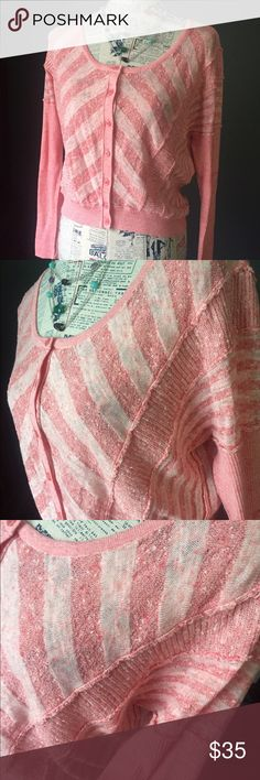 Free People - cropped cardigan Adorable pink, cropped cardigan. Excellent condition. Size tag trimmed out, fits M/L. Free People Sweaters Cardigans