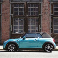 Bring a little sunshine wherever you go. Blue Mini Cooper, Mini Cooper Convertible, Mini Me, Curb Appeal, Cool Cars, Aqua, Mini Coopers, Bmw, Sunshine