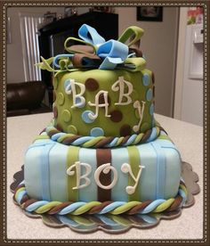 Baby Blue, Green Brown Stripes and Polka Dots Baby Boy Cake Baby Shower Cakes For Boys, Baby Boy Cakes, Baby Shower Invitations For Boys, Baby Shower Fun, Baby Shower Themes, Shower Ideas, Gender Revel Cake, Cake Pops, Couples Baby Showers