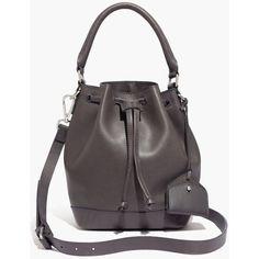 MADEWELL The Mini Lafayette Bucket Bag ($158) ❤ liked on Polyvore featuring women's fashion, bags, handbags, shoulder bags, sleek charcoal, black cross body purse, leather crossbody, crossbody purse, leather crossbody purse and leather handbags