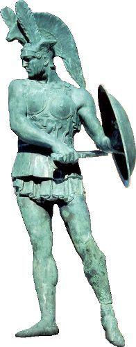Sculptor Joseph Comm GUASTALLA. Bronze sculpture of the Samnite warrior (Guerriero Sannita). 1915-1918. Pietrabbondante comune (Molise region in Italy).