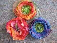 How To Make Chiffon Flowers by Calamity Kim how to fabric flowers Flores Chiffon, Chiffon Flowers, Faux Flowers, Diy Flowers, Fabric Flowers, Paper Flowers, Flower Colors, Cloth Flowers, Flower Ideas