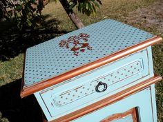 Hand painted cabinet/bedside table by Shabby Duck Studio, Western Australia. Vintage transfers on painted surface, Voodoo Molly Vintage designer paint in Retro Blue and double layer stencilling