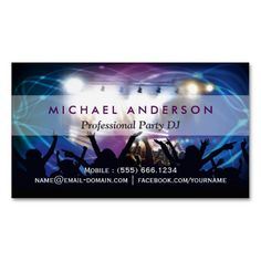 307 best dj business cards images on pinterest dj business cards music dj party concert planner modern stylish magnetic business card reheart Image collections