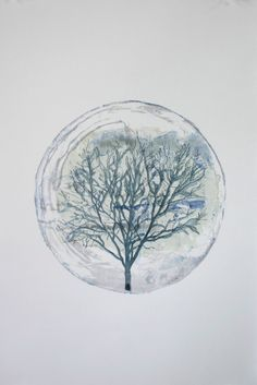 Tree of Life Watercolor Monoprint Painting Cool/ by ANKarabin, $200.00