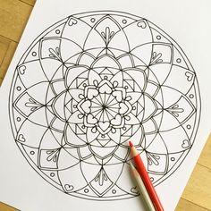 Mandala Love Hand Drawn Adult Coloring Page Print от MauindiArts