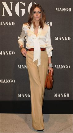 Pussy Tie Creme Blouse, Wide leg Camel pants add leopard pumps or red pumps for personality.