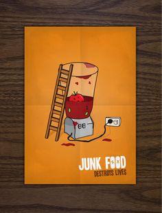 Junk Food Destroys Lives by Alex Tomkins, via Behance