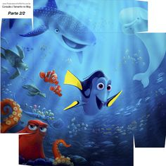 Caixa bombom Kit Festa Procurando Dory - parte 2 Finding Dory, Party Kit, Gift Tags, Free Printables, Party Themes, Birthday Parties, Fish, Cards, Gifts
